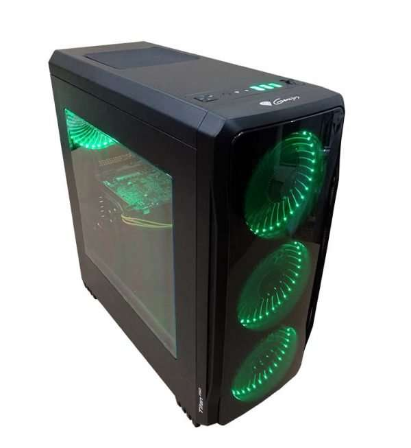 Levné PC – Genesys 750 (green) DDR4 8GB Elite / i3-9100F 4,2 GHz / RX 570 8GB / SSD 240GB