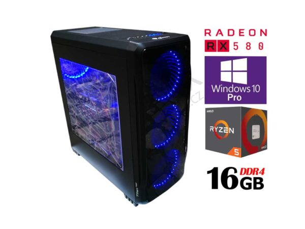 Spielset Ryzen 5 2600 3,9 GHz / 16 GB DDR4 / RX 580 8 GB / 2000 GB Festplatte / 480 GB SSD